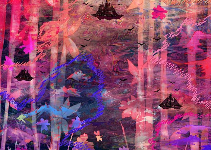 Landscape Greeting Card featuring the digital art Three Ships by Rachel Christine Nowicki