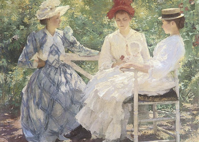 Edmund Charles Tarbell Greeting Card featuring the painting Three Sisters-a Study In June Sunlight by Edmund Charles Tarbell