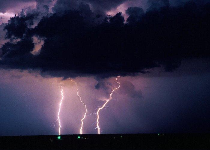 Thunderstorm Greeting Card featuring the photograph Three Strikes by Matt Swinden