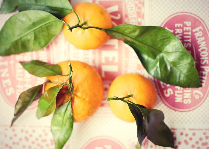 Tangerines Greeting Card featuring the photograph Three Tangerines by Lupen Grainne