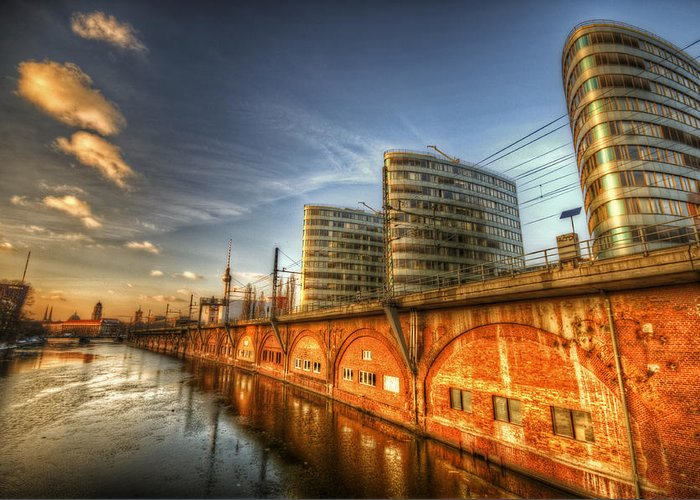 Ancient Greeting Card featuring the digital art Three Towers Berlin by Nathan Wright