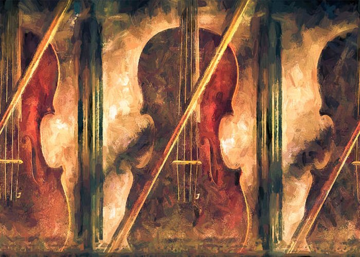 Violins Greeting Card featuring the painting Three Violins by Bob Orsillo