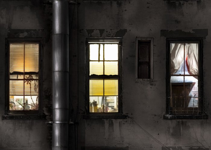 Windows Greeting Card featuring the photograph Three Windows And Pipe - The Story Behind The Windows by Gary Heller