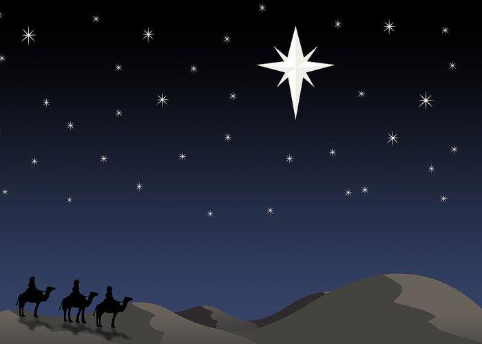 Bethlehem Greeting Card featuring the photograph Three Wisemen Following Star by Daniel Sicolo