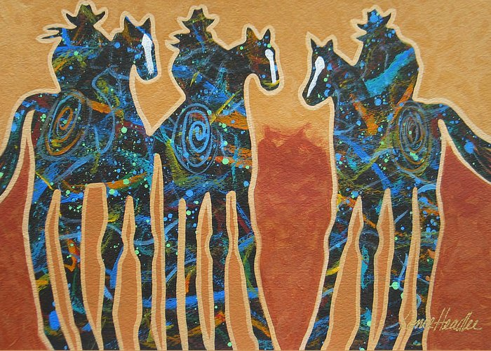 Minimal Western Greeting Card featuring the painting Three With Rope by Lance Headlee