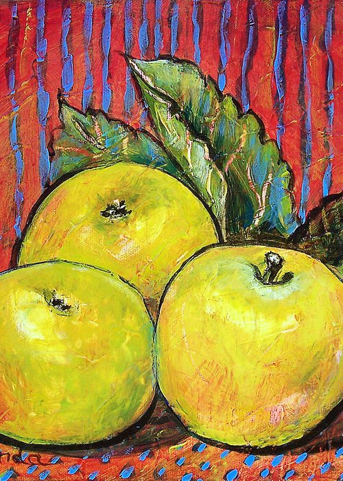 Painting Greeting Card featuring the painting Three Yellow Apples by Blenda Studio