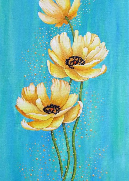 Poppies Greeting Card featuring the painting Three Yellow Poppies with Pixie Dust by Carol Sabo