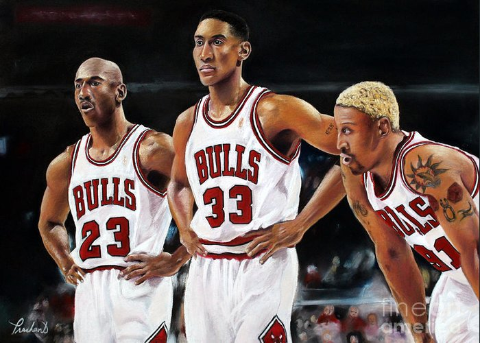 Chicago Greeting Card featuring the painting Threepeat - Chicago Bulls - Michael Jordan Scottie Pippen Dennis Rodman by Prashant Shah