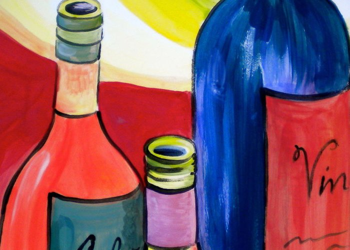 More Bottles Greeting Card featuring the painting Threesome by Debi Starr