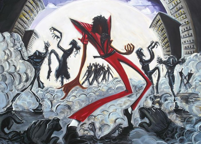 Thriller Greeting Card featuring the painting Thriller V2 by Tu-Kwon Thomas