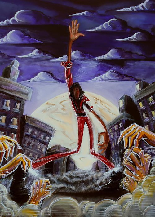 Thriller Greeting Card featuring the painting 'thriller V3' by Tu-Kwon Thomas