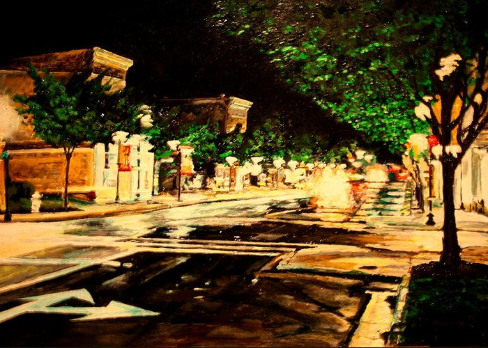 Nocturne Greeting Card featuring the painting Through Some Place A Rainy Night by Thomas Akers