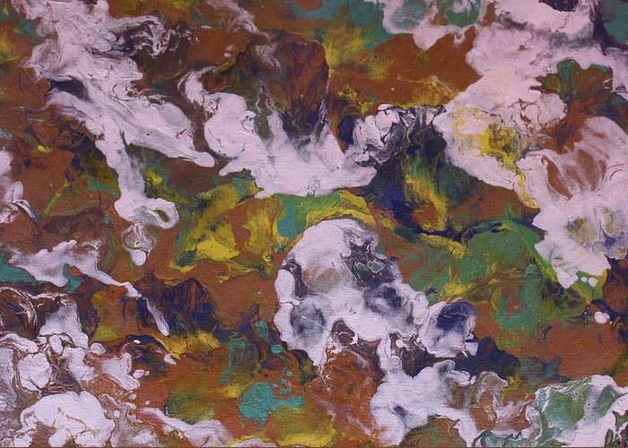 Modern Abstract Greeting Card featuring the painting Through The Clouds by Shelly Sexton