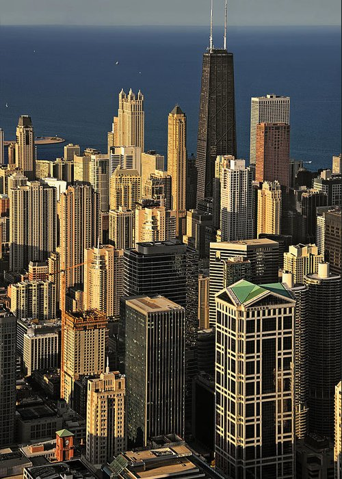 Aerial Greeting Card featuring the photograph Through The Haze Chicago Shines by Christine Till