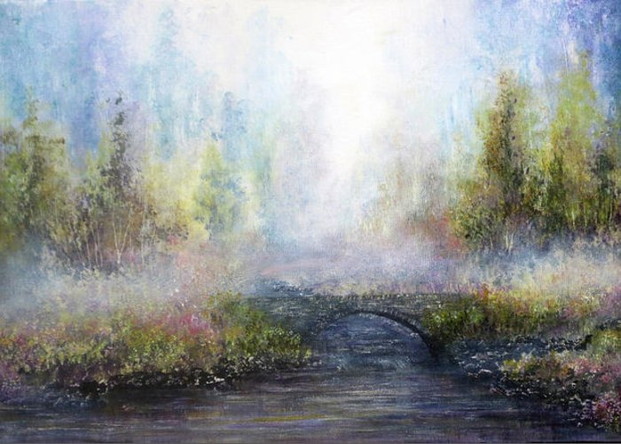 Hand Painted Greeting Card featuring the painting Through The Mist by Ann Marie Bone
