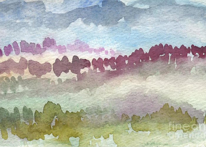 Abstract Landscape Greeting Card featuring the painting Through The Trees by Linda Woods