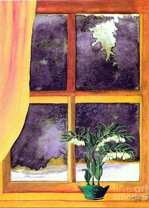 Fine Art Greeting Card featuring the painting Through The Window by Patricia Griffin Brett