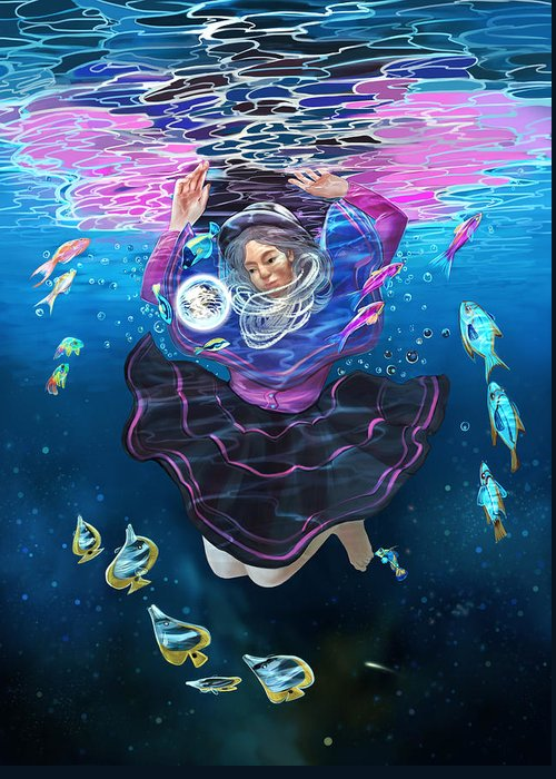 Ocean Greeting Card featuring the digital art Through The World by Andrea Montano