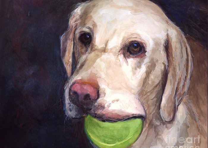 Yellow Labrador Retriever Greeting Card featuring the painting Throw The Ball by Molly Poole