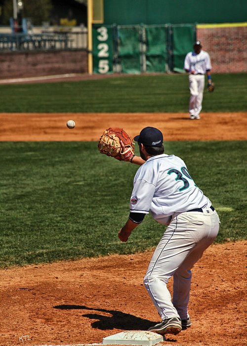 Baseball Greeting Card featuring the photograph Throw To First by Karol Livote
