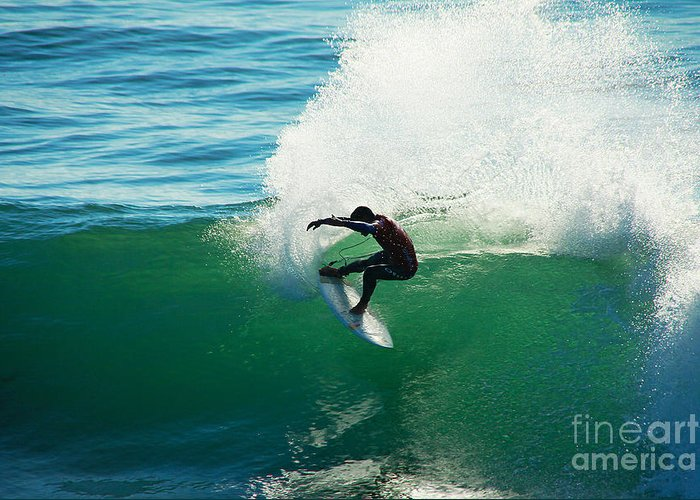 Surfing Greeting Card featuring the photograph Throwing Light by Paul Topp