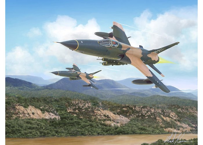 F-105 Thunderchief Greeting Card featuring the painting Thuds Bringin' It Downtown by Mark Karvon