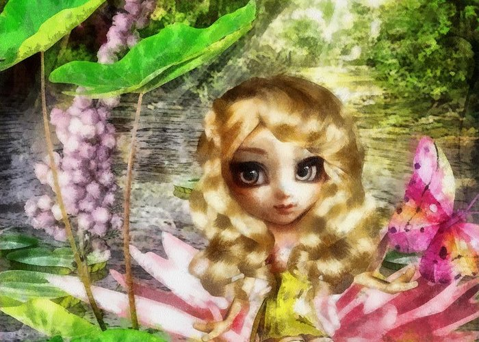 Thumbelina Greeting Card featuring the painting Thumbelina by Mo T