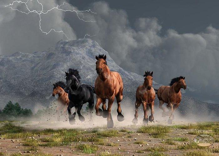 Horse Art Greeting Card featuring the digital art Thunder On The Plains by Daniel Eskridge