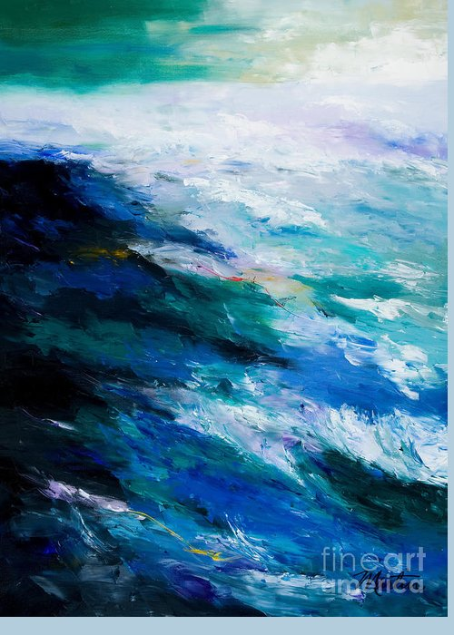 Seascape Greeting Card featuring the painting Thunder Tide by Larry Martin