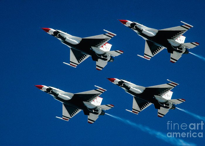 U.s. Air Force Thunderbirds Greeting Card featuring the photograph Thunderbirds by Larry Miller