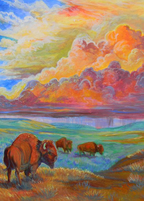 Plains Greeting Card featuring the painting Thunderheads by Jenn Cunningham