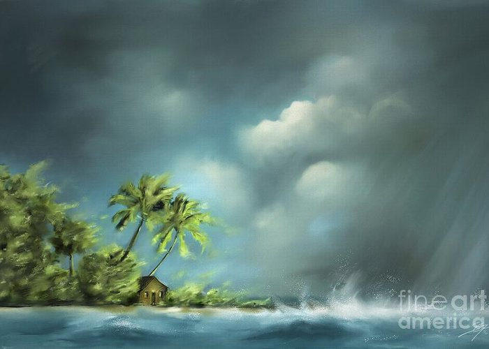 Beach Greeting Card featuring the painting Thunderstorm at Jupiter Beach by - Artificium -