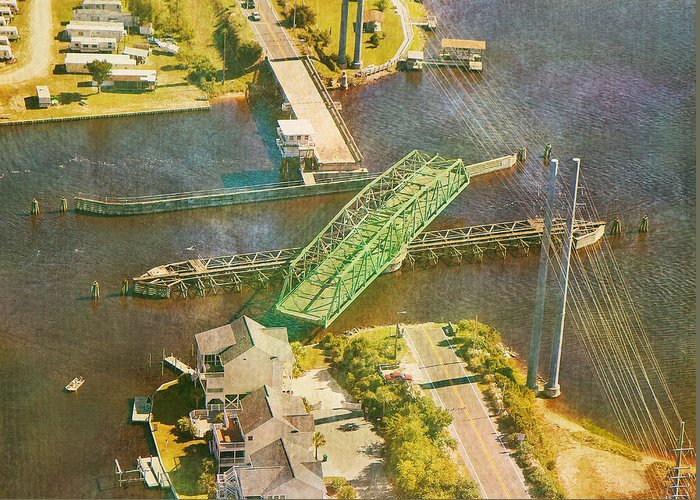 Topsail Greeting Card featuring the photograph Ti Swingin' Swing Bridge by Betsy Knapp