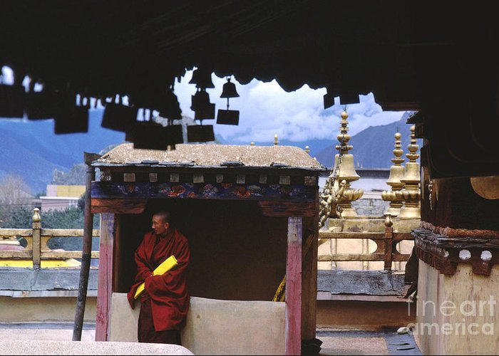Tibet Greeting Card featuring the photograph Tibetan Monk With Scroll On Jokhang Roof by Anna Lisa Yoder