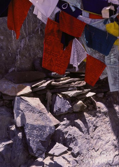 Prayer Flags Greeting Card featuring the photograph Tibetan Prayer Flags Behind The Potala Palace by Anna Lisa Yoder