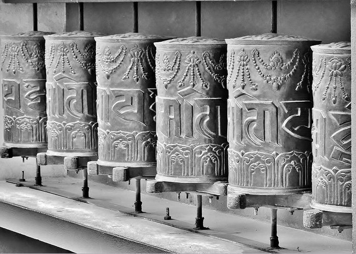 Prayer Wheel Greeting Card featuring the photograph Tibetan Prayer Wheels - Black And White by Kim Bemis