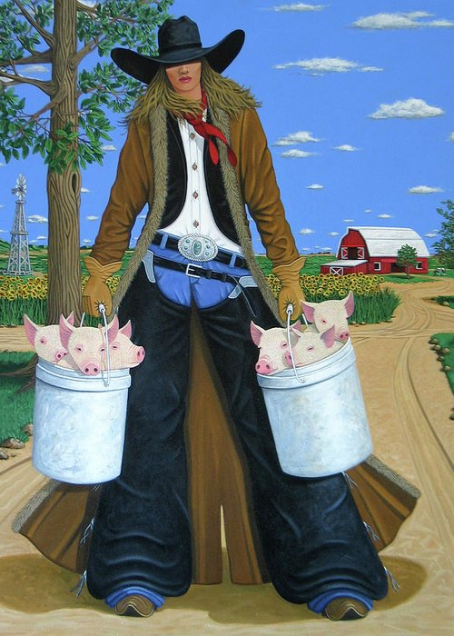 Little Piglets Greeting Card featuring the painting Tickled Pink by Lance Headlee