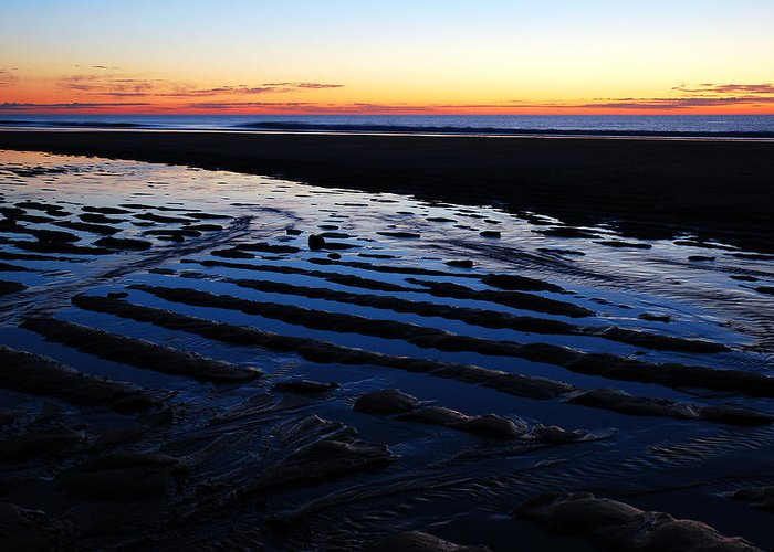 Sunrise Greeting Card featuring the photograph Tidal Ripples At Sunrise by James Kirkikis