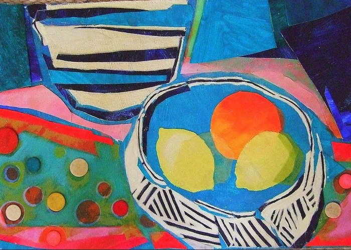 Mixed Media Still Life Greeting Card featuring the mixed media Tiddly Winks by Diane Fine
