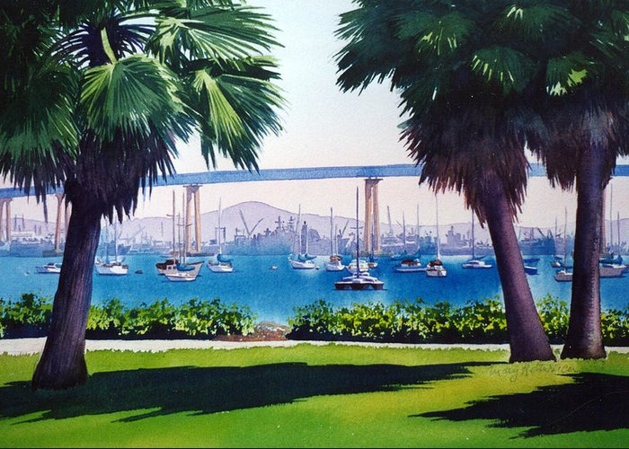 Tide Land Greeting Card featuring the painting Tide Lands Park Coronado by Mary Helmreich