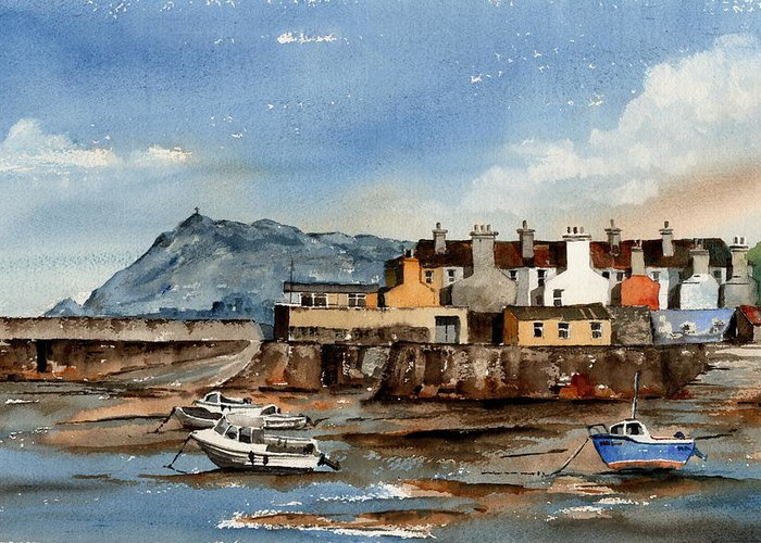 Val Byrne Greeting Card featuring the painting Tide Out Bray Harbour Wicklow by Val Byrne