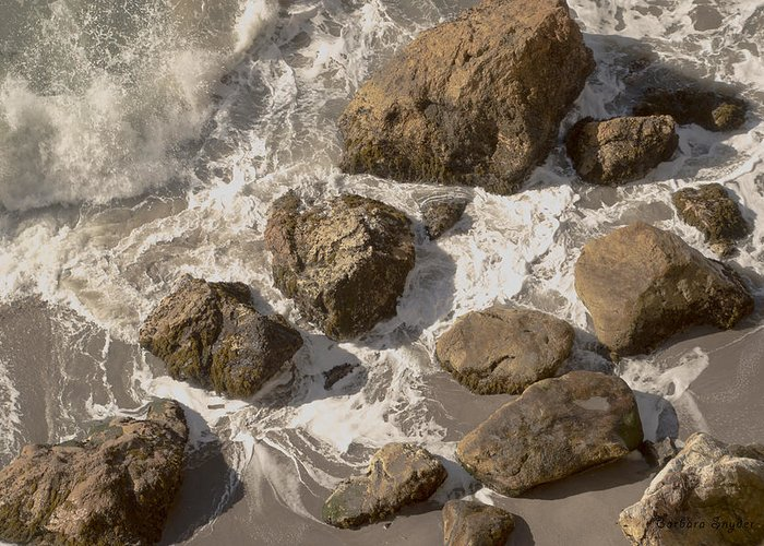 Barbara Snyder Greeting Card featuring the digital art Tide Pools Of Shell Beach California by Barbara Snyder