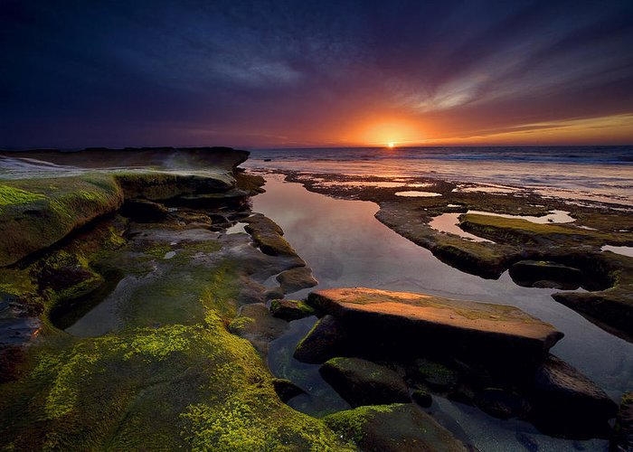 Ocean Greeting Card featuring the photograph Tidepool Sunsets by Peter Tellone