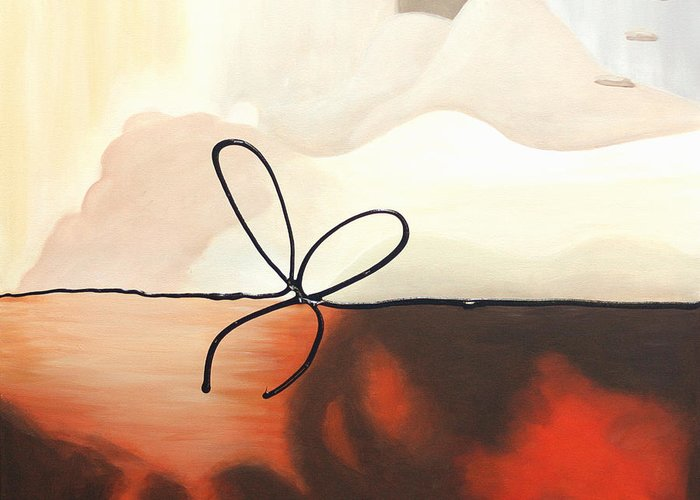 Abstract Greeting Card featuring the painting Tied Up 3 by Lynn Soehner