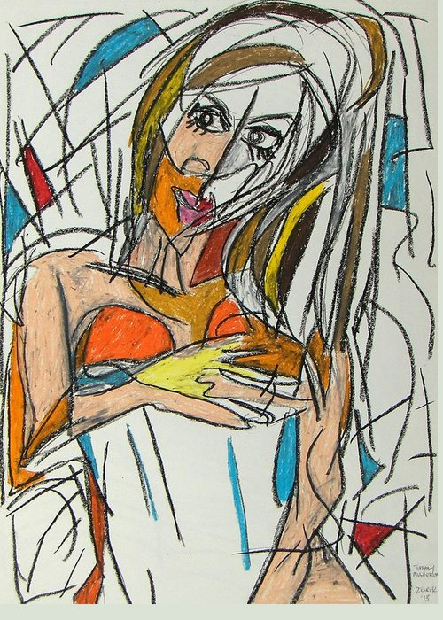 Woman Greeting Card featuring the pastel Tiffany by Drew Eurek