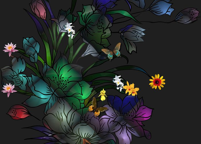 Liane Wright Greeting Card featuring the digital art Tiffany Floral Design by Liane Wright