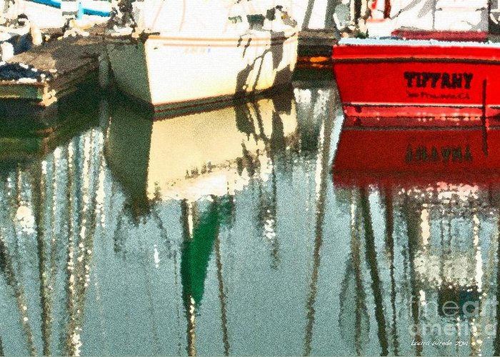 Boat Harbor Greeting Card featuring the photograph Tiffany Sailed From San Francisco To Moss Landing by Artist and Photographer Laura Wrede