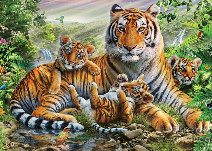 Adrian Chesterman Greeting Card featuring the digital art Tiger And Cubs by Adrian Chesterman