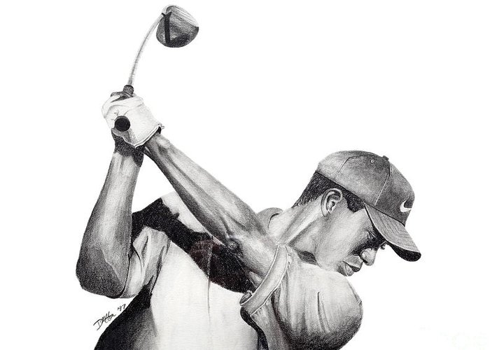 Tiger Woods Greeting Card featuring the drawing Tiger Backswing by Devin Millington