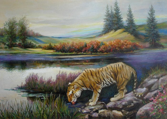 Siberian Tiger Greeting Card featuring the painting Tiger By The River by Svitozar Nenyuk